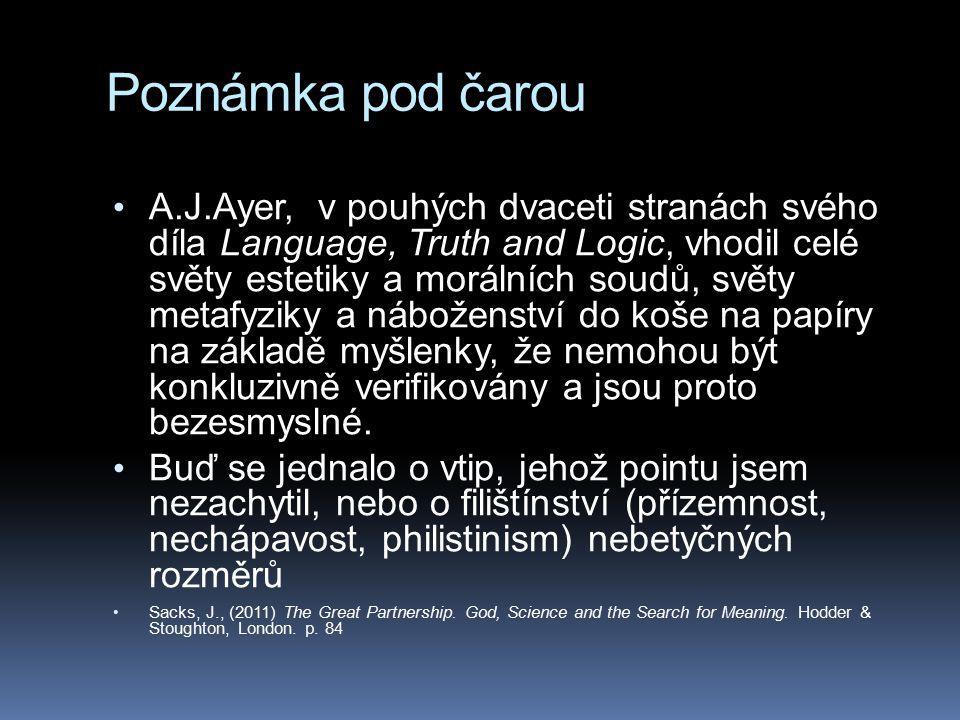 Poznámka pod čarou A.J.Ayer, v pouhých dvaceti stranách svého díla Language, Truth and Logic, vhodil celé světy estetiky a morálních soudů, světy meta