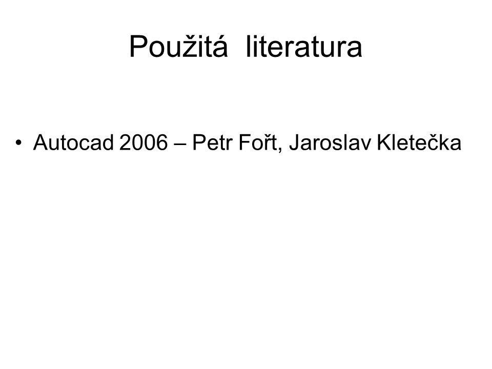 Použitá literatura Autocad 2006 – Petr Fořt, Jaroslav Kletečka