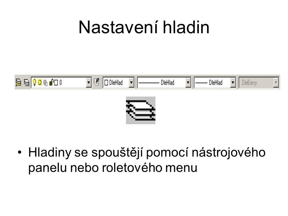 Nastavení hladin Hladiny se spouštějí pomocí nástrojového panelu nebo roletového menu