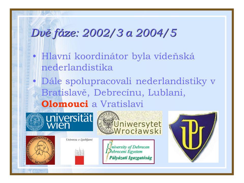 Dvě fáze: 2002/3 a 2004/5 Hlavní koordinátor byla vídeňská nederlandistika Dále spolupracovali nederlandistiky v Bratislavě, Debrecínu, Lublani, Olomouci a Vratislavi