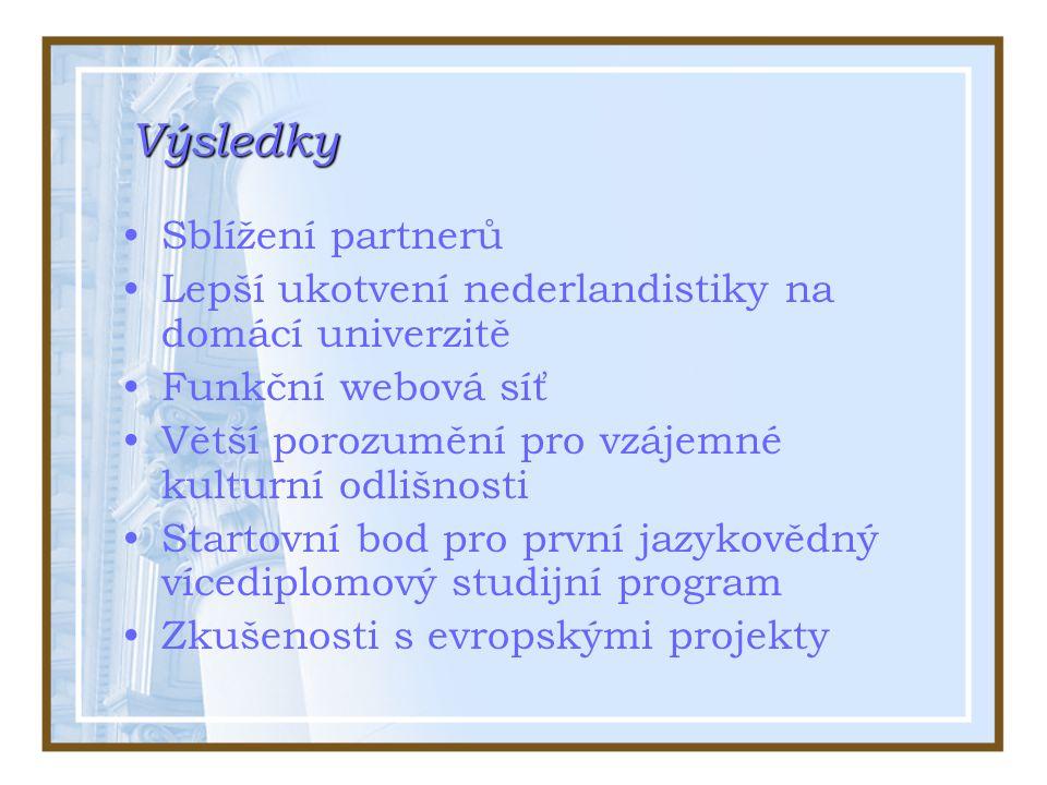 Výsledky Sblížení partnerů Lepší ukotvení nederlandistiky na domácí univerzitě Funkční webová síť Větší porozumění pro vzájemné kulturní odlišnosti Startovní bod pro první jazykovědný vícediplomový studijní program Zkušenosti s evropskými projekty
