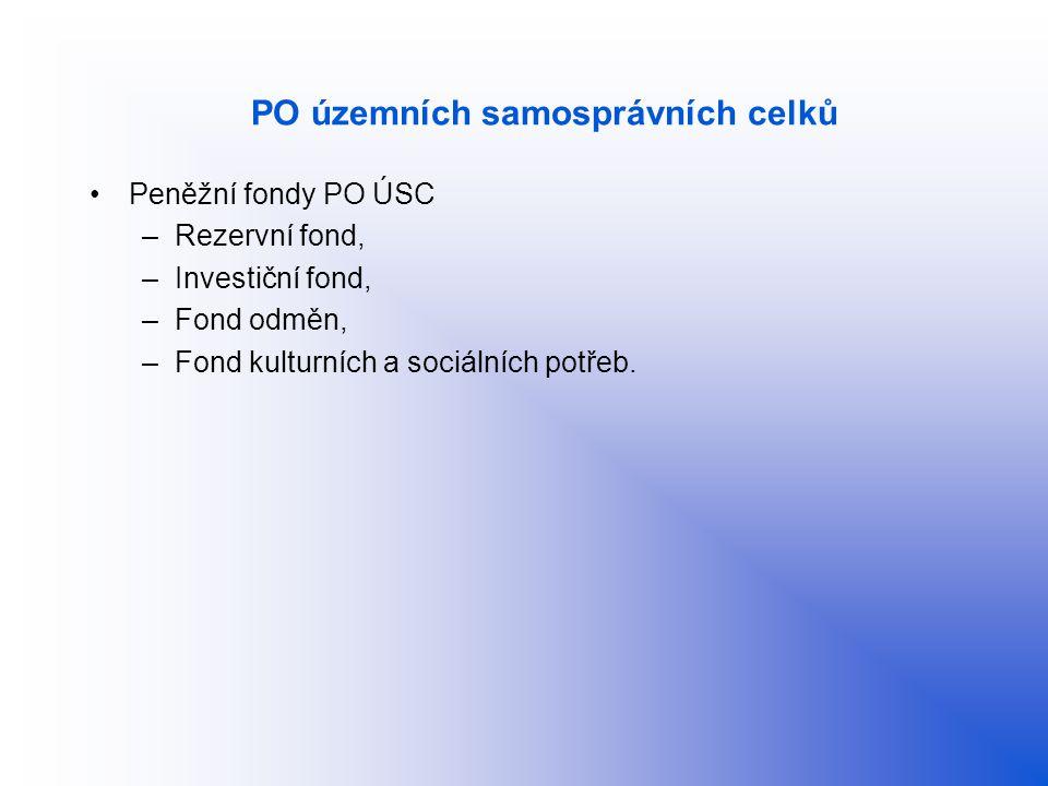 PO územních samosprávních celků Peněžní fondy PO ÚSC –Rezervní fond, –Investiční fond, –Fond odměn, –Fond kulturních a sociálních potřeb.