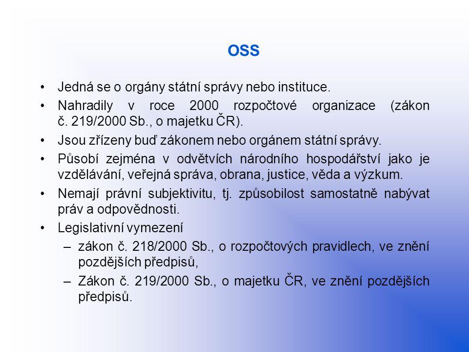 OSS Jedná se o orgány státní správy nebo instituce. Nahradily v roce 2000 rozpočtové organizace (zákon č. 219/2000 Sb., o majetku ČR). Jsou zřízeny bu