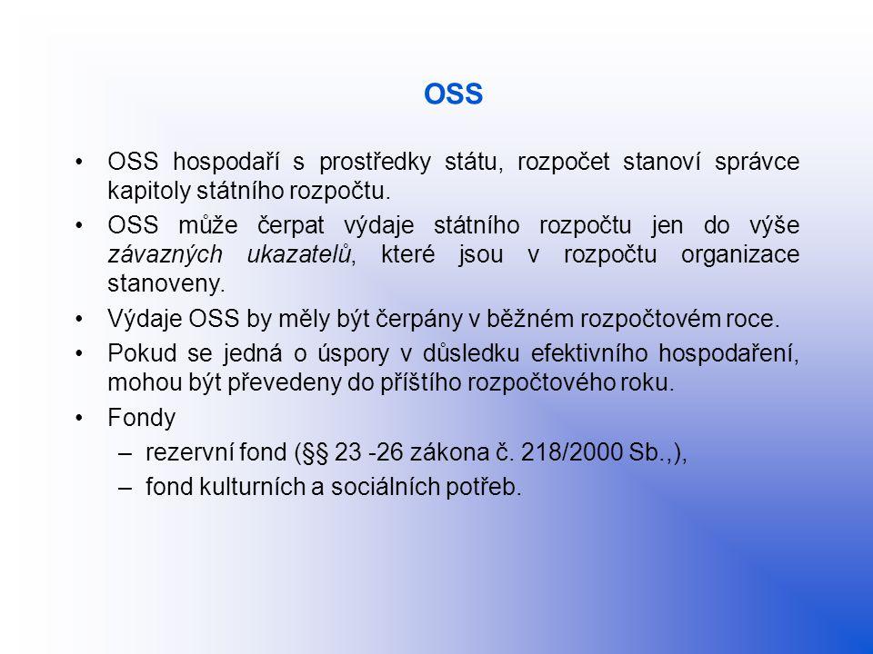 OSS OSS hospodaří s prostředky státu, rozpočet stanoví správce kapitoly státního rozpočtu. OSS může čerpat výdaje státního rozpočtu jen do výše závazn