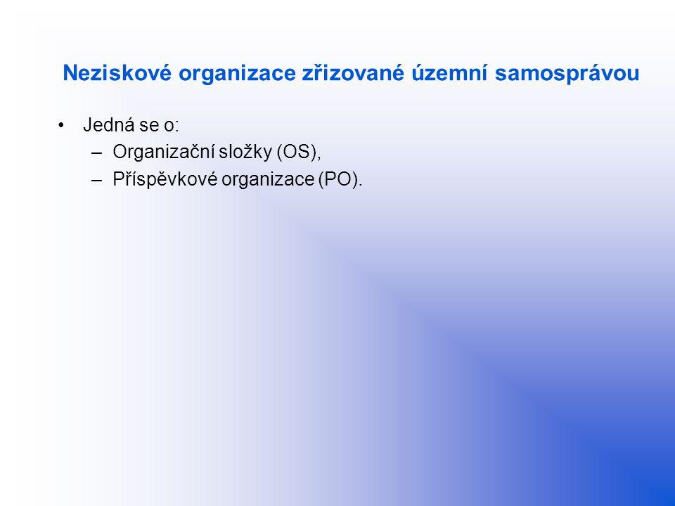 Neziskové organizace zřizované územní samosprávou Jedná se o: –Organizační složky (OS), –Příspěvkové organizace (PO).