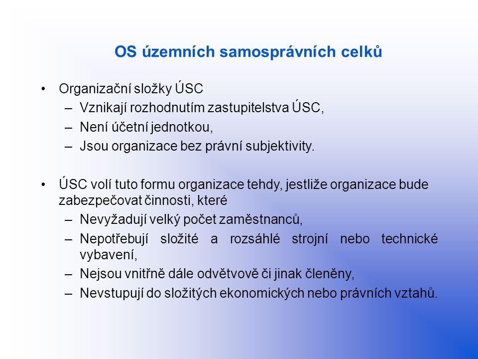 OS územních samosprávních celků Organizační složky ÚSC –Vznikají rozhodnutím zastupitelstva ÚSC, –Není účetní jednotkou, –Jsou organizace bez právní s
