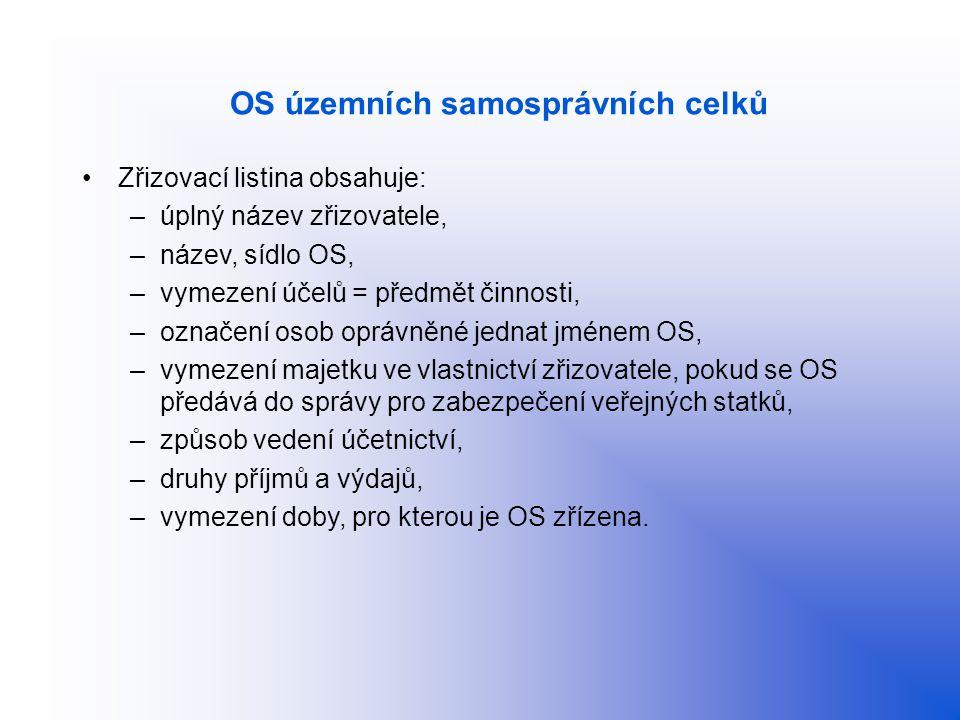 OS územních samosprávních celků Zřizovací listina obsahuje: –úplný název zřizovatele, –název, sídlo OS, –vymezení účelů = předmět činnosti, –označení