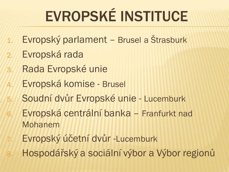 EVROPSKÉ INSTITUCE 1. Evropský parlament – Brusel a Štrasburk 2.