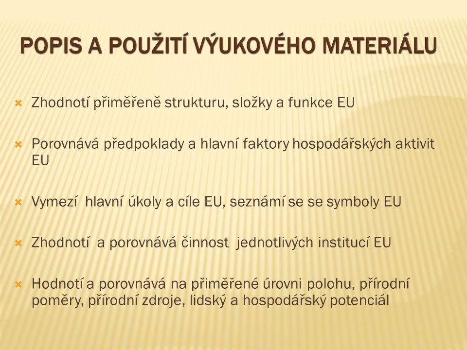  Zhodnotí přiměřeně strukturu, složky a funkce EU  Porovnává předpoklady a hlavní faktory hospodářských aktivit EU  Vymezí hlavní úkoly a cíle EU, seznámí se se symboly EU  Zhodnotí a porovnává činnost jednotlivých institucí EU  Hodnotí a porovnává na přiměřené úrovni polohu, přírodní poměry, přírodní zdroje, lidský a hospodářský potenciál