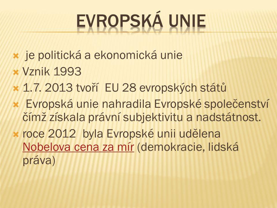  je politická a ekonomická unie  Vznik 1993  1.7.