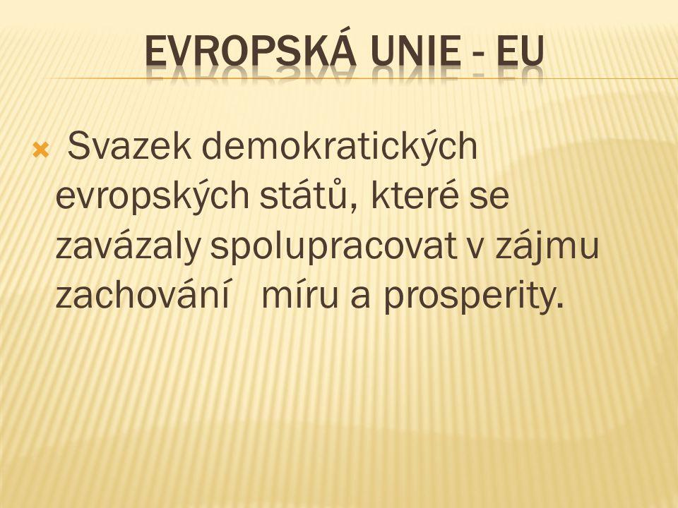  Svazek demokratických evropských států, které se zavázaly spolupracovat v zájmu zachování míru a prosperity.