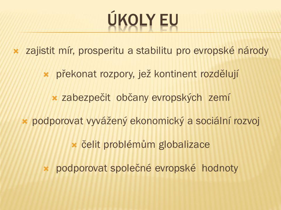  vytvoření společného trhu, hospodářské a měnové unie  podpora rozvoje a růstu hospodářství, zaměstnanosti, konkurenceschopnosti  zlepšování životní úrovně a kvality životního prostředí  k zabezpečení těchto cílů slouží : volný pohyb zboží, osob, služeb a kapitálu, společná politika Evropské unie (v oblastech hospodářství, obchodní politiky a zemědělství)