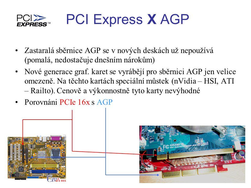 Zastaralá sběrnice AGP se v nových deskách už nepoužívá (pomalá, nedostačuje dnešním nárokům) Nové generace graf. karet se vyrábějí pro sběrnici AGP j