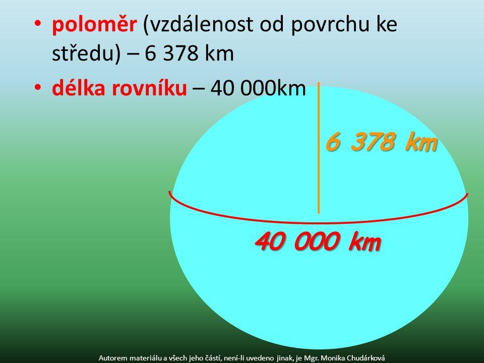 poloměr (vzdálenost od povrchu ke středu) – 6 378 km délka rovníku – 40 000km Autorem materiálu a všech jeho částí, není-li uvedeno jinak, je Mgr.