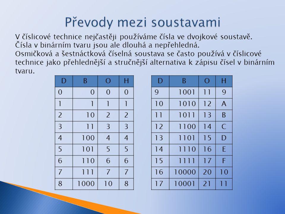 V číslicové technice nejčastěji používáme čísla ve dvojkové soustavě.