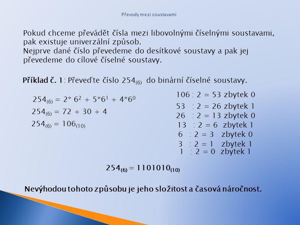 Pokud chceme převádět čísla mezi libovolnými číselnými soustavami, pak existuje univerzální způsob.
