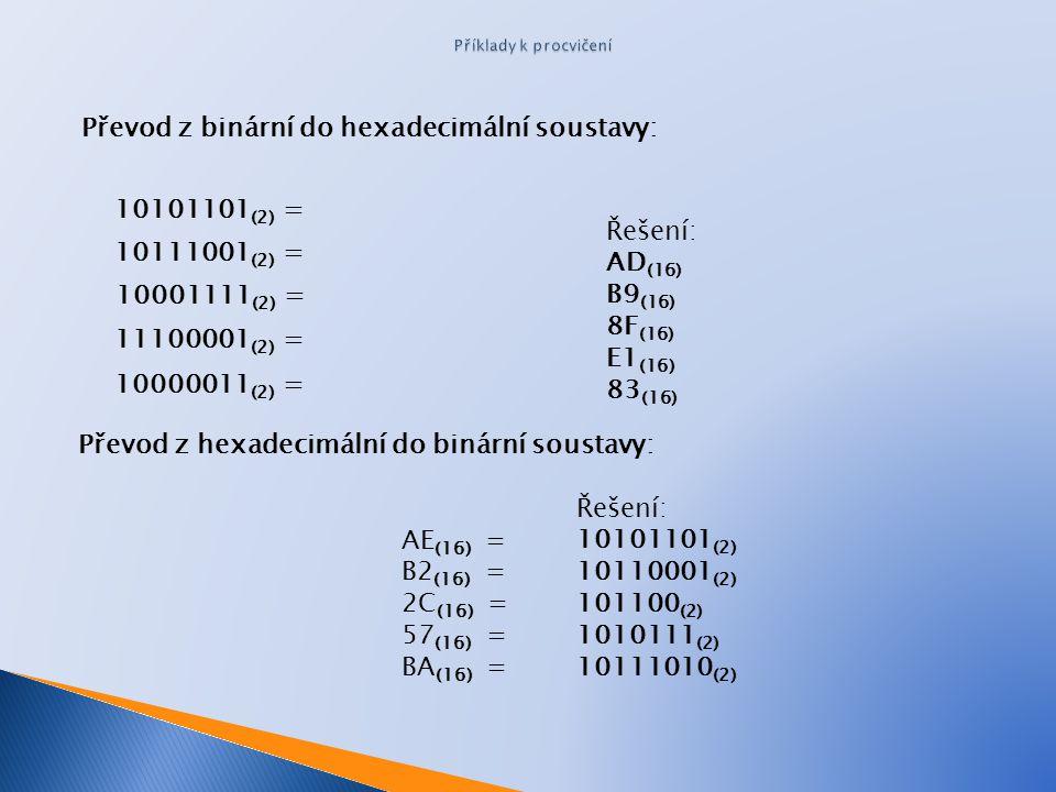 Převod z binární do hexadecimální soustavy: Převod z hexadecimální do binární soustavy: 10101101 (2) = 10111001 (2) = 10001111 (2) = 11100001 (2) = 10000011 (2) = Řešení: 10101101 (2) 10110001 (2) 101100 (2) 1010111 (2) 10111010 (2) AE (16) = B2 (16) = 2C (16) = 57 (16) = BA (16) = Řešení: AD (16) B9 (16) 8F (16) E1 (16) 83 (16)