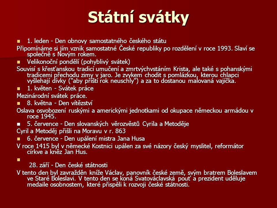 Státní svátky 28.října - Den vzniku samostatného československého státu 28.