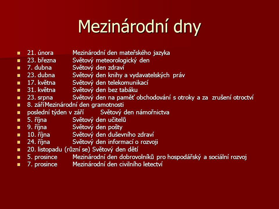 Mezinárodní dny 21. únoraMezinárodní den mateřského jazyka 21. únoraMezinárodní den mateřského jazyka 23. březnaSvětový meteorologický den 23. březnaS