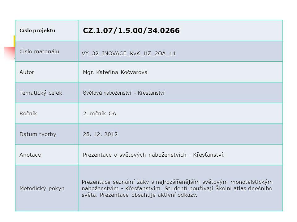 Číslo projektu CZ.1.07/1.5.00/34.0266 Číslo materiálu VY_32_INOVACE_KvK_HZ_2OA_11 Autor Mgr. Kateřina Kočvarová Tematický celek Světová náboženství -