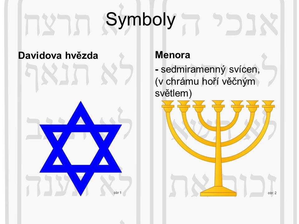 Davidova hvězda Menora - sedmiramenný svícen, (v chrámu hoří věčným světlem) obr 1 obr 2 Symboly