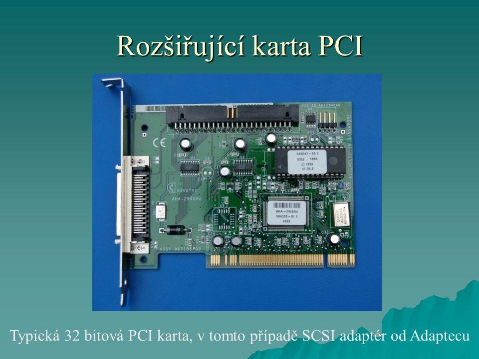Rozšiřující karta PCI Typická 32 bitová PCI karta, v tomto případě SCSI adaptér od Adaptecu