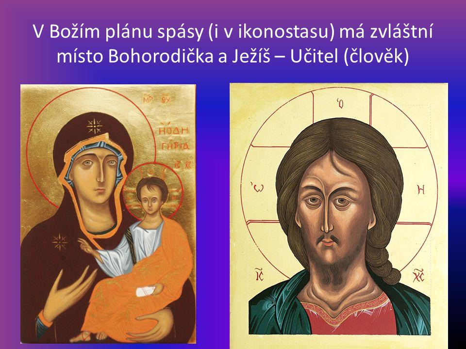 V Božím plánu spásy (i v ikonostasu) má zvláštní místo Bohorodička a Ježíš – Učitel (člověk)