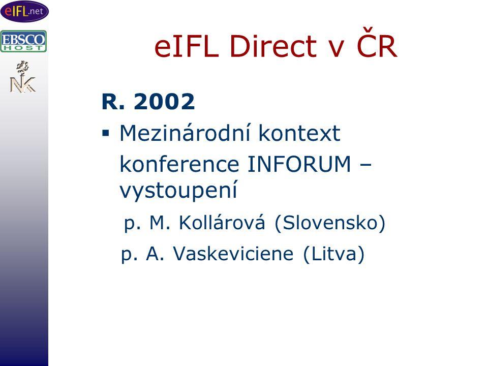 eIFL Direct v ČR R. 2002  Mezinárodní kontext konference INFORUM – vystoupení p.