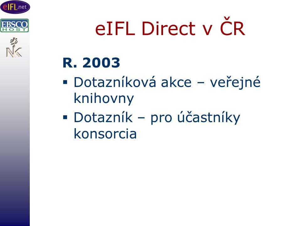 eIFL Direct v ČR R. 2003  Dotazníková akce – veřejné knihovny  Dotazník – pro účastníky konsorcia