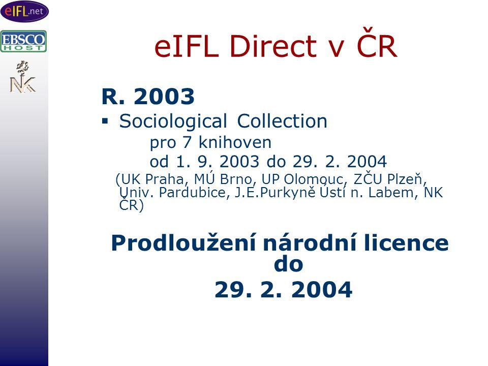 eIFL Direct v ČR R. 2003  Sociological Collection pro 7 knihoven od 1.