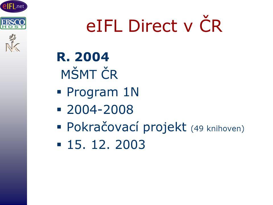 eIFL Direct v ČR R. 2004 MŠMT ČR  Program 1N  2004-2008  Pokračovací projekt (49 knihoven)  15.