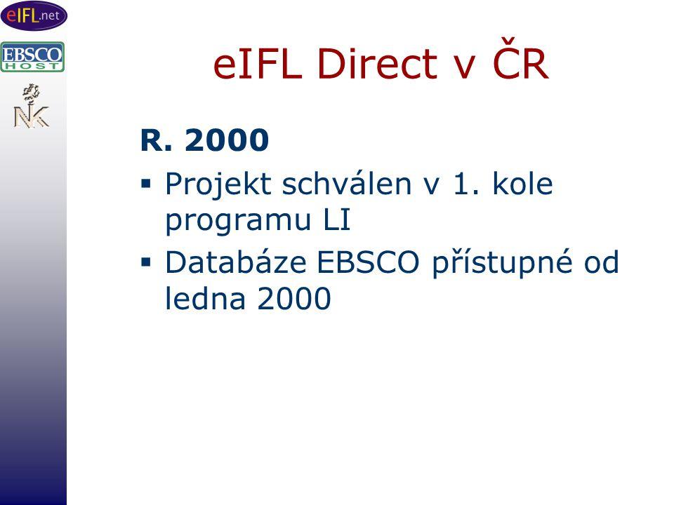 eIFL Direct v ČR R. 2000  Projekt schválen v 1.