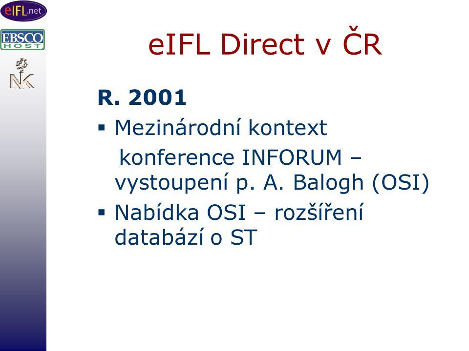 eIFL Direct v ČR R. 2001  Mezinárodní kontext konference INFORUM – vystoupení p.