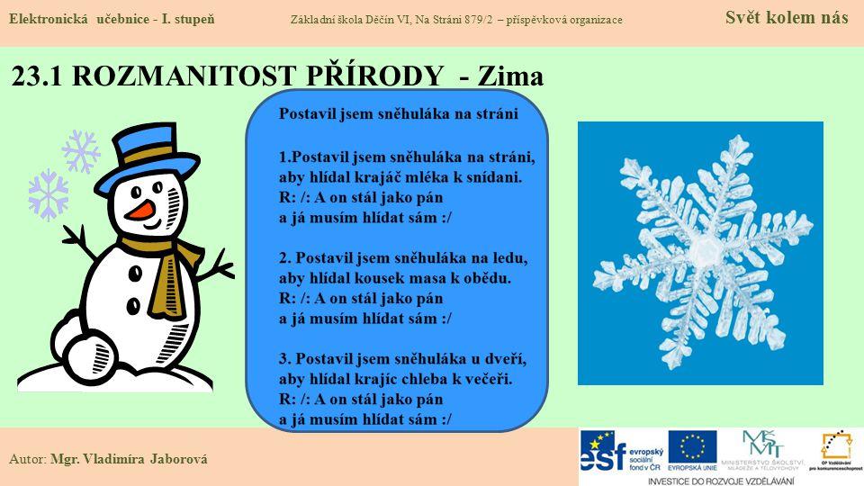 23.1 ROZMANITOST PŘÍRODY - Zima Elektronická učebnice - I.