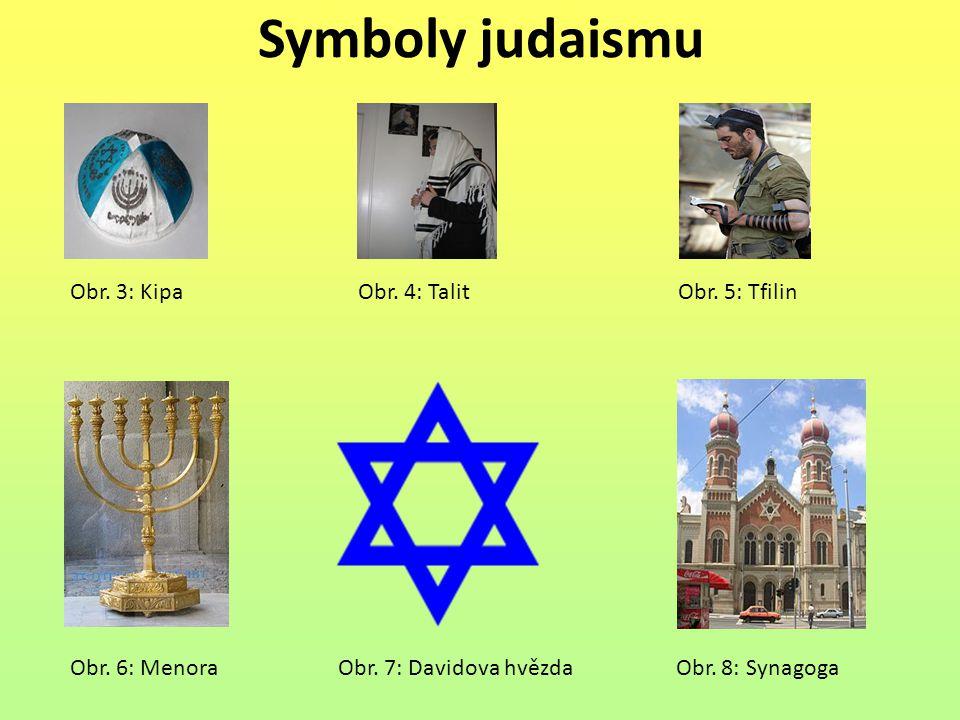 Symboly judaismu Obr. 3: Kipa Obr. 4: Talit Obr. 5: Tfilin Obr. 6: Menora Obr. 7: Davidova hvězda Obr. 8: Synagoga
