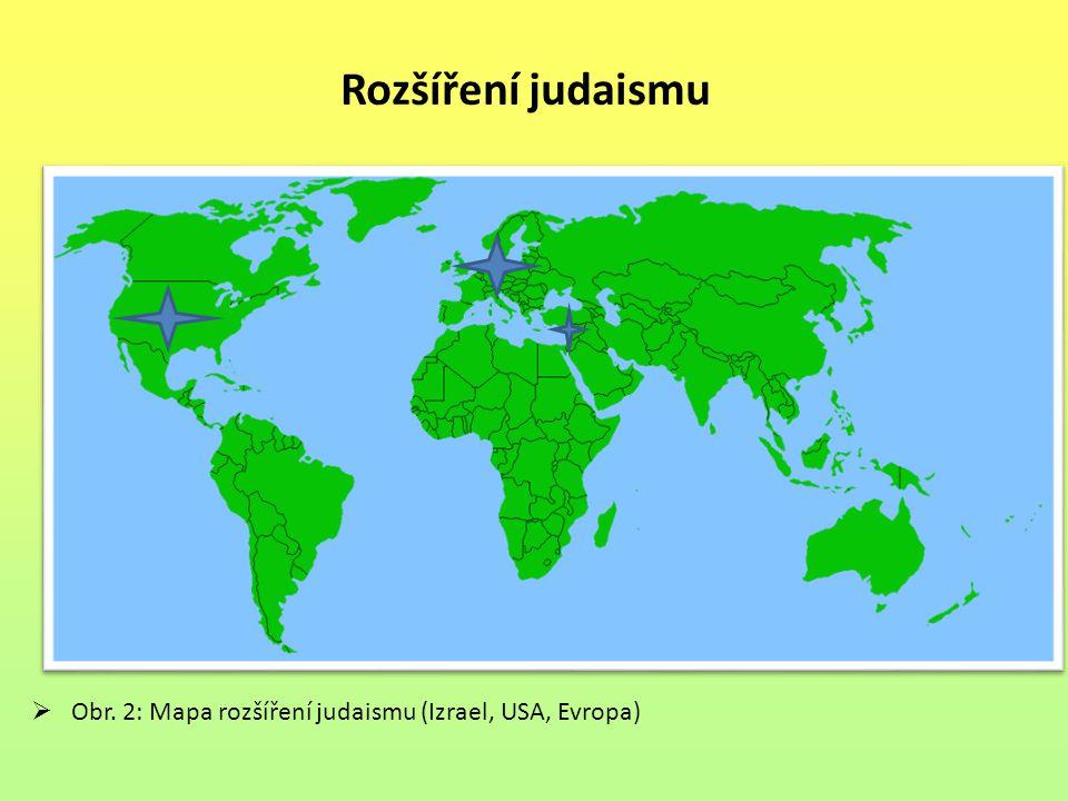 Rozšíření judaismu  Obr. 2: Mapa rozšíření judaismu (Izrael, USA, Evropa)