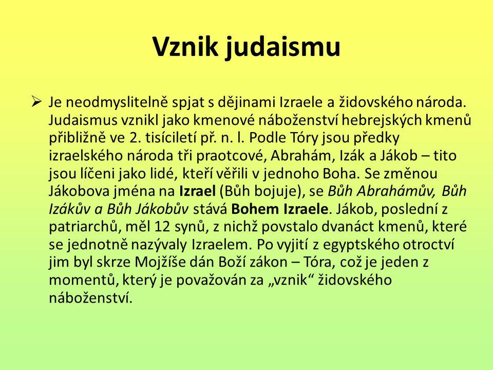 Vznik judaismu  Je neodmyslitelně spjat s dějinami Izraele a židovského národa. Judaismus vznikl jako kmenové náboženství hebrejských kmenů přibližně