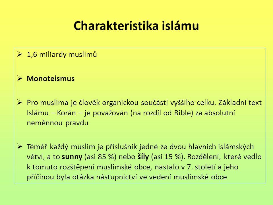 Charakteristika islámu  1,6 miliardy muslimů  Monoteismus  Pro muslima je člověk organickou součástí vyššího celku. Základní text Islámu – Korán –