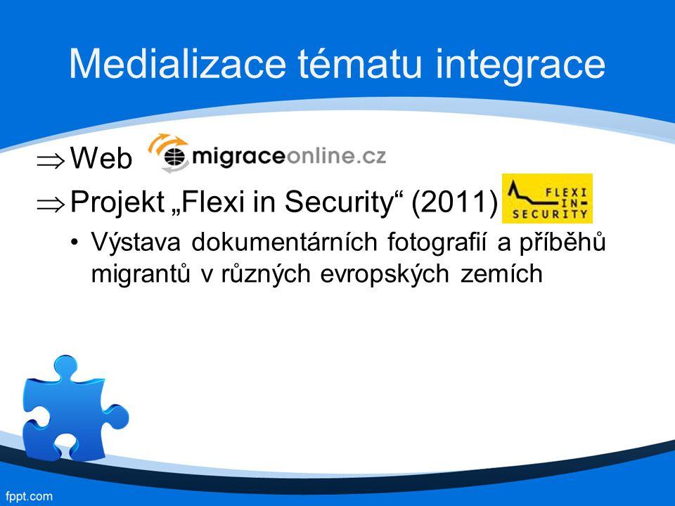 """Medializace tématu integrace  Web  Projekt """"Flexi in Security (2011) Výstava dokumentárních fotografií a příběhů migrantů v různých evropských zemích"""