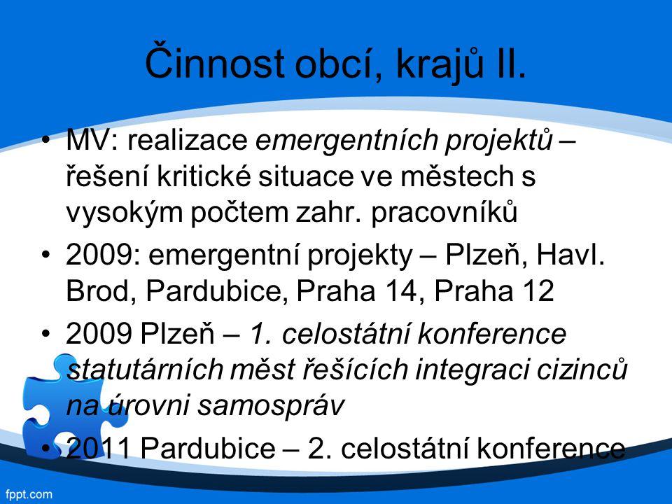 Činnost obcí, krajů II.