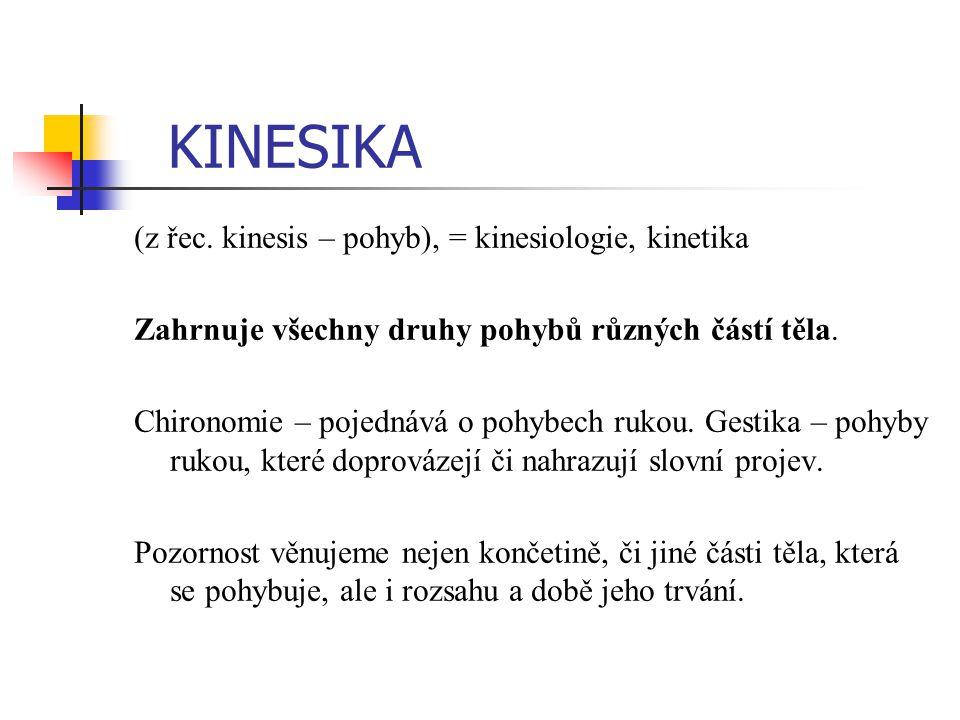 KINESIKA (z řec. kinesis – pohyb), = kinesiologie, kinetika Zahrnuje všechny druhy pohybů různých částí těla. Chironomie – pojednává o pohybech rukou.
