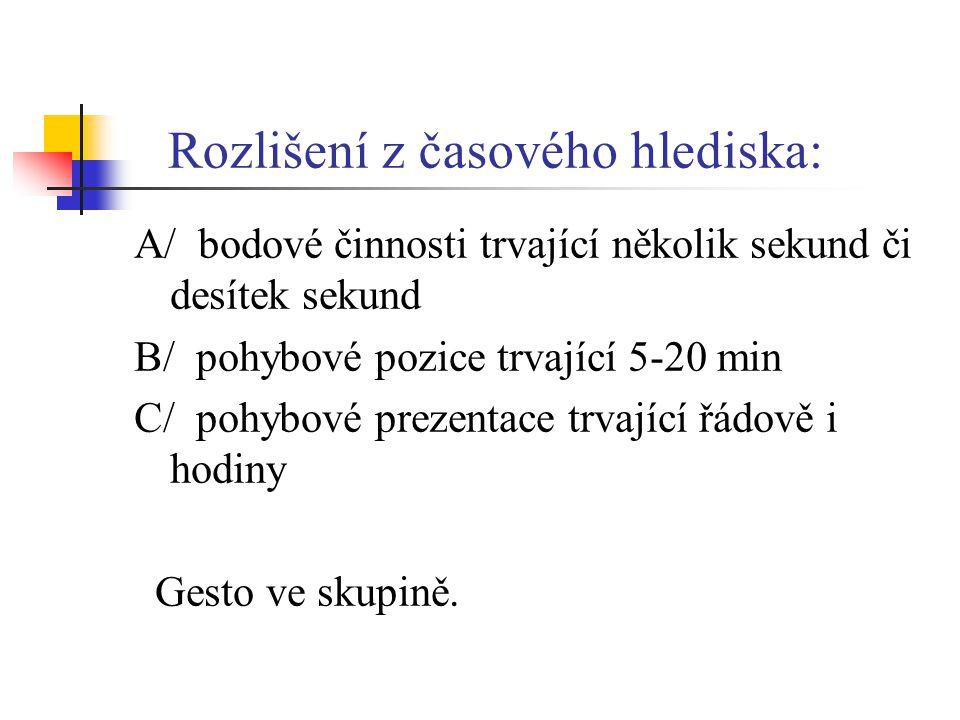 Rozlišení z časového hlediska: A/ bodové činnosti trvající několik sekund či desítek sekund B/ pohybové pozice trvající 5-20 min C/ pohybové prezentac