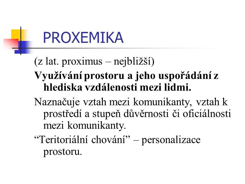 PROXEMIKA (z lat. proximus – nejbližší) Využívání prostoru a jeho uspořádání z hlediska vzdálenosti mezi lidmi. Naznačuje vztah mezi komunikanty, vzta