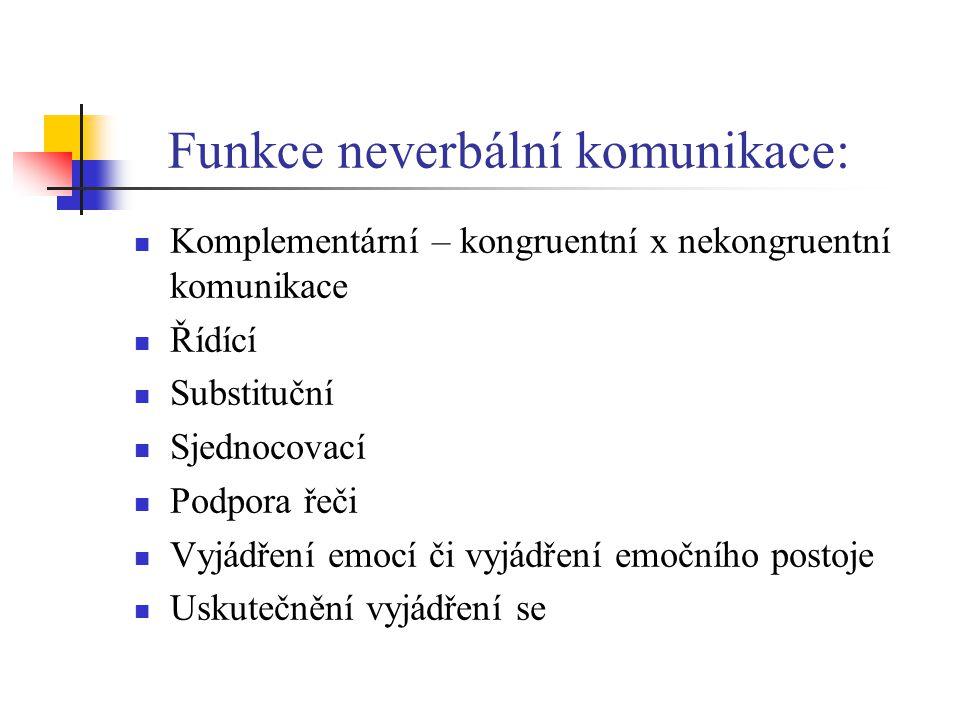 Funkce neverbální komunikace: Komplementární – kongruentní x nekongruentní komunikace Řídící Substituční Sjednocovací Podpora řeči Vyjádření emocí či