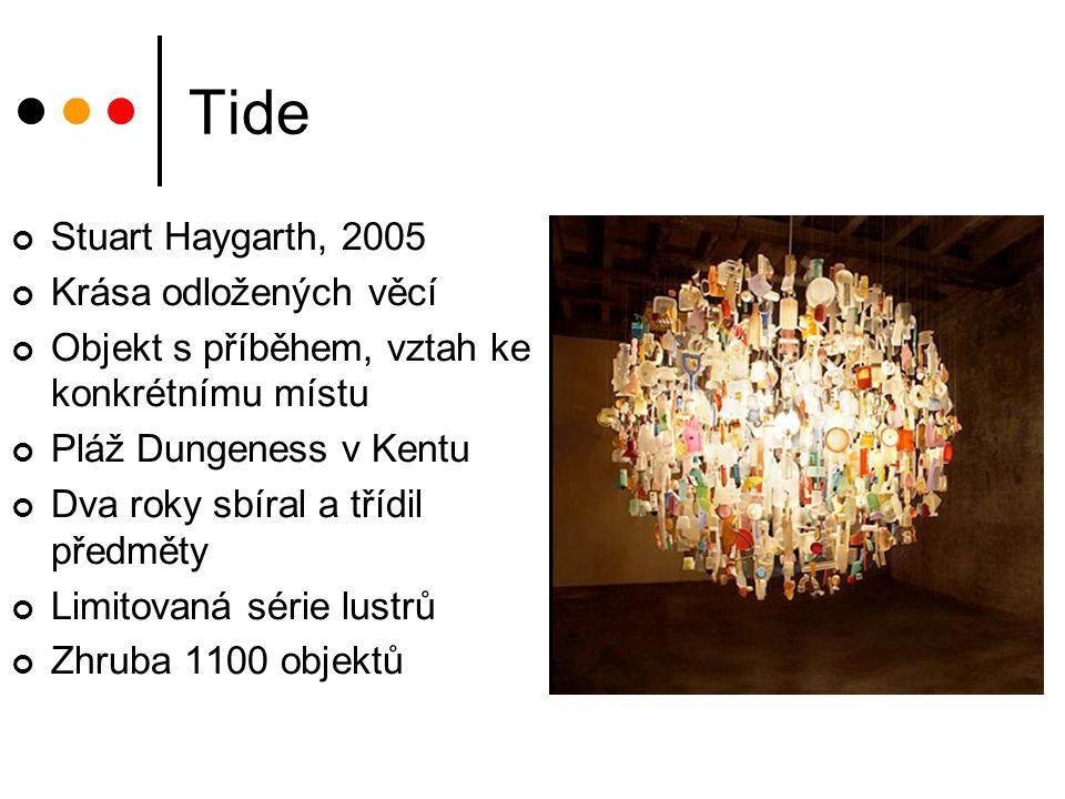 Tide Stuart Haygarth, 2005 Krása odložených věcí Objekt s příběhem, vztah ke konkrétnímu místu Pláž Dungeness v Kentu Dva roky sbíral a třídil předmět
