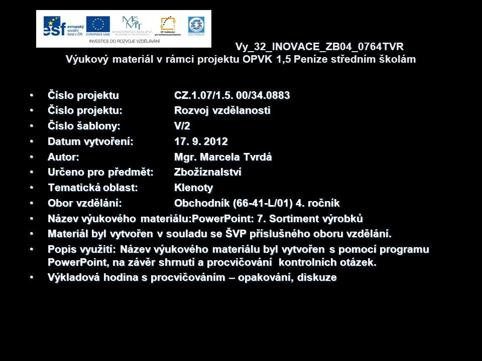 Vy_32_INOVACE_ZB04_0764TVR Výukový materiál v rámci projektu OPVK 1,5 Peníze středním školám Číslo projektuCZ.1.07/1.5. 00/34.0883Číslo projektuCZ.1.0