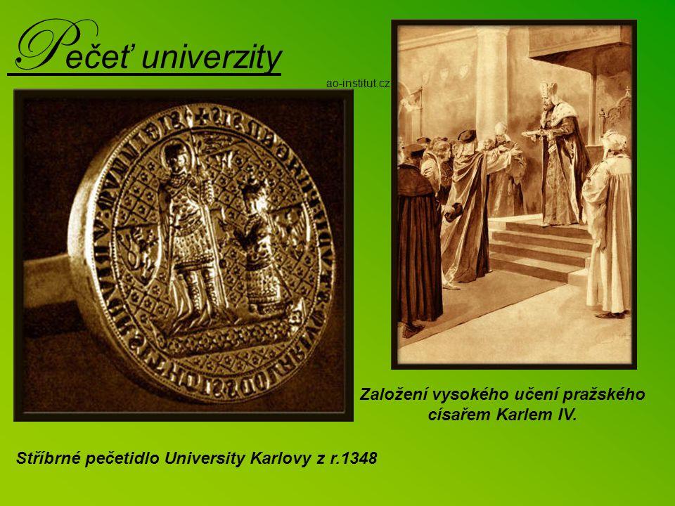 U niverzita Karlova Karel IV. zakládá pražskou universitu roku 1348. Arcibiskup Arnošt z Pardubic předčítá zakládací listinu v přítomnosti zástupců vš