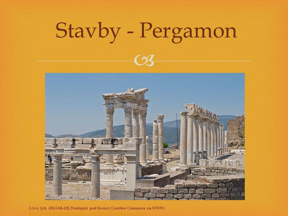  Stavby - Pergamon Zdroj: [cit. 2013-04-20]. Dostupný pod licencí Creative Commons na WWW: http://commons.wikimedia.org/wiki/File%3APergamon_-_04.jpg