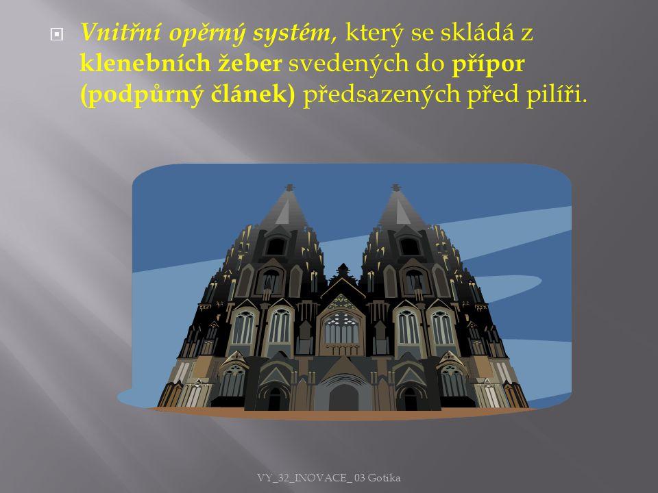  Vnitřní opěrný systém, který se skládá z klenebních žeber svedených do přípor (podpůrný článek) předsazených před pilíři. VY_32_INOVACE_ 03 Gotika
