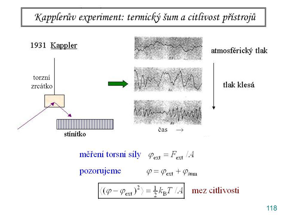 118 Kapplerův experiment: termický šum a citlivost přístrojů torzní zrcátko čas 